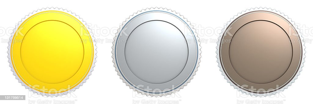 Empty badge gold silver bronze royalty-free stock photo