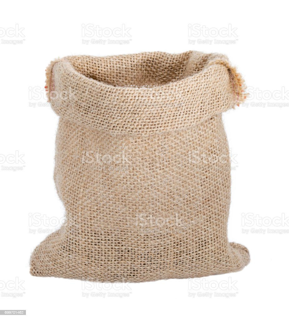 Empty bag from sacking isolated on white background stock photo