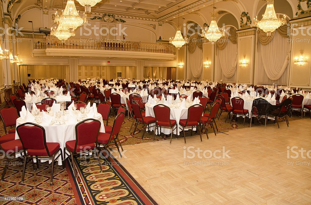 Empty Ballroom of Frontenanc Castle Quebec city stock photo