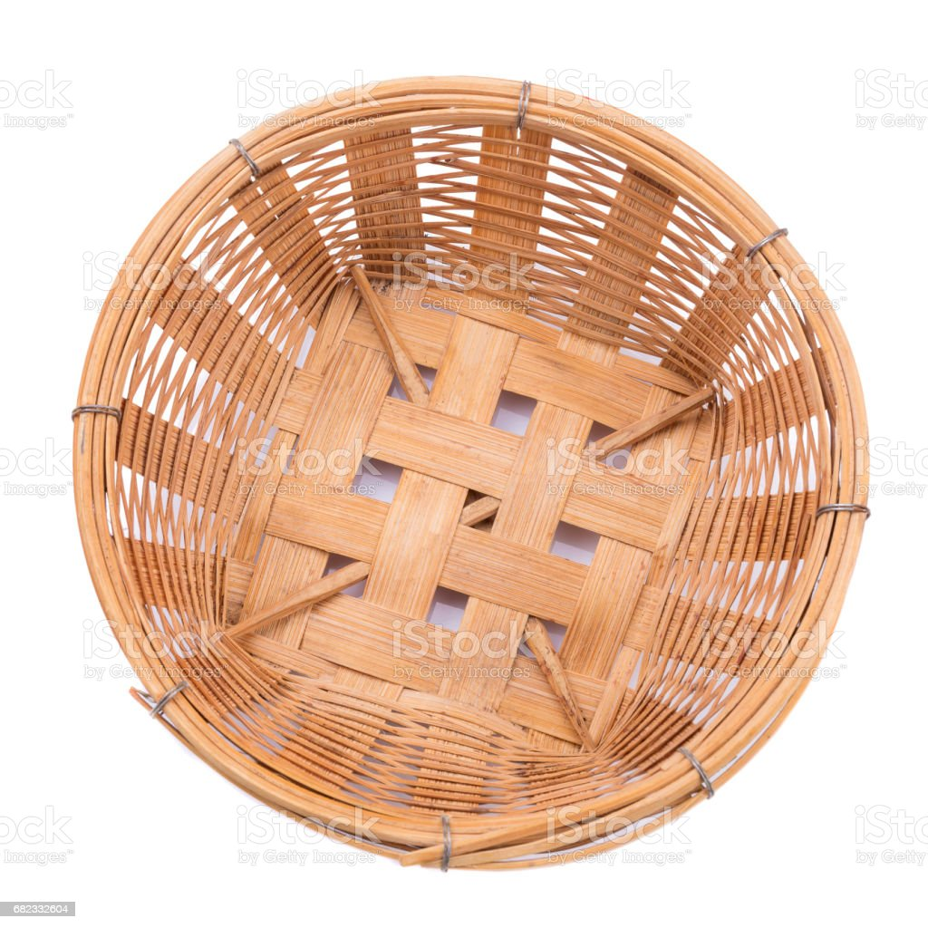 empty bamboo basket on a white background stock photo