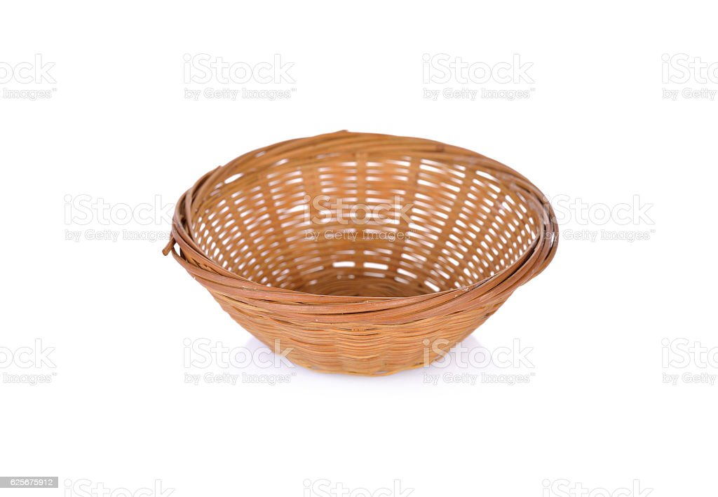 empty bamboo basket on white background stock photo
