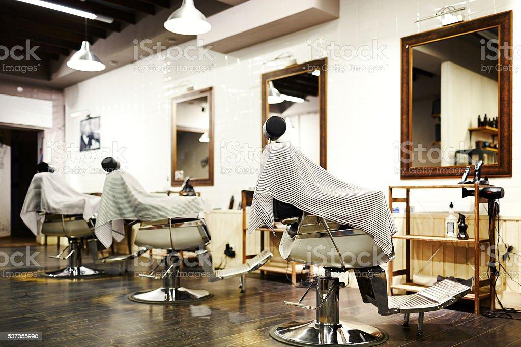 Empty barbershop stock photo