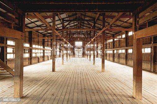 istock Empty barn intention hardwood floors and beans 466758072