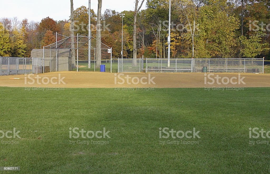 Empty baseball field and bleachers on a sunny day royalty-free stock photo