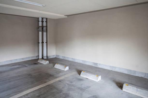 Empty basement parking stock photo