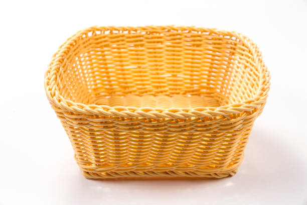 Empty basket isolated on a white background stock photo