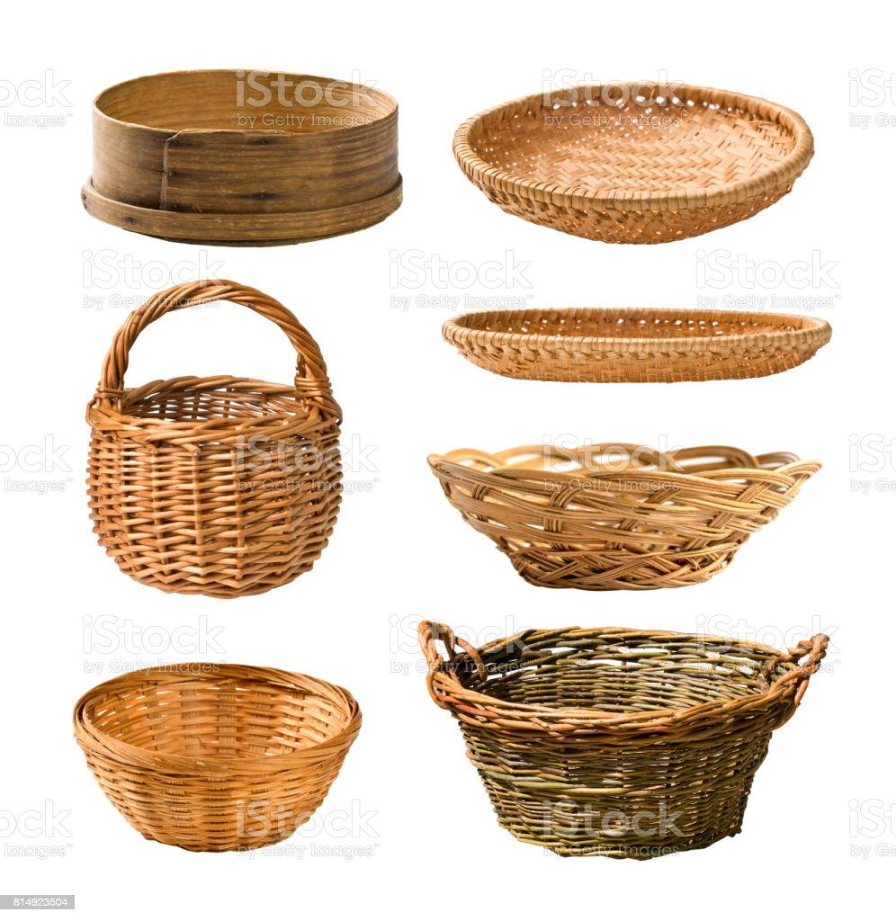 Empty basket set stock photo