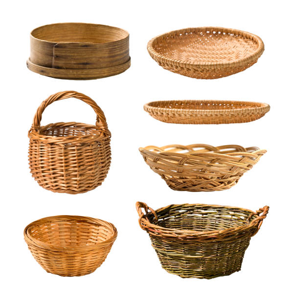 Empty basket set Empty wicker basket isolated on white . Set wicker stock pictures, royalty-free photos & images