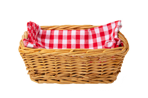 Empty basket therein a red checkered napkin isolated on white background. For your food and product display montage.