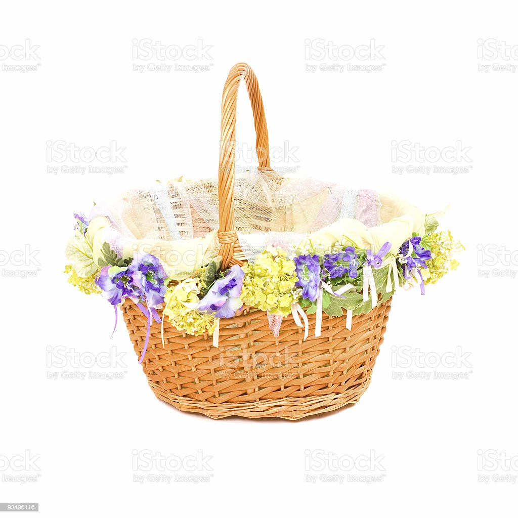 Empty basket with decoration on white royalty-free stock photo