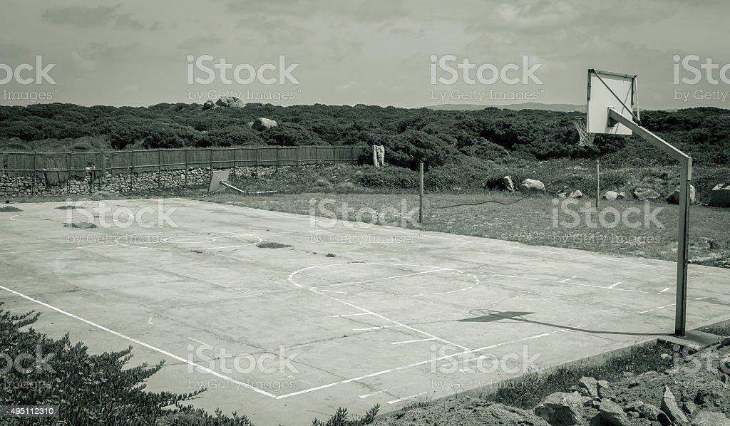 Empty Basketball Court stock photo