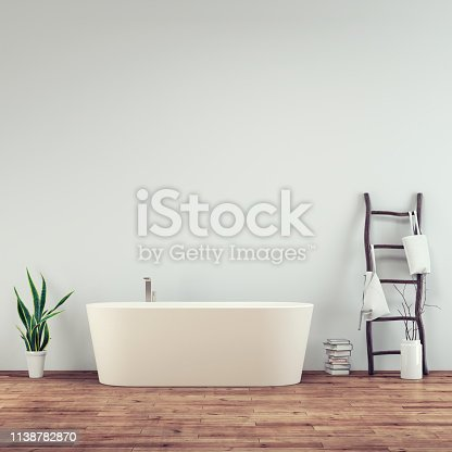Bathroom interior with hardwood floor and empty white plaster wall with copy space. Self-standing bathtub in front with decoration. 3D rendered image.