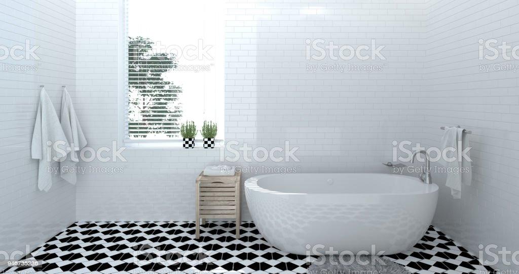 empty bathroom interior,toilet,shower,modern home design 3d rendering for copy space background white tile bathroom stock photo