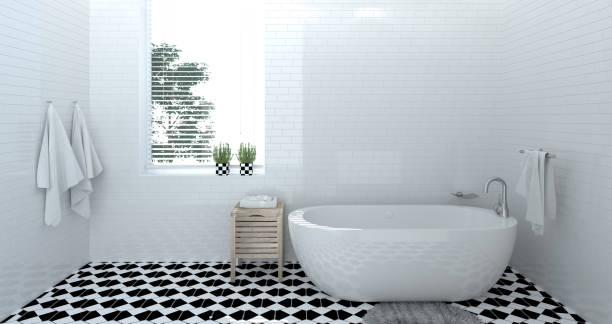 empty bathroom interior,toilet,shower,modern home design 3d rendering for copy space background white tile bathroom - bathroom renovation stock photos and pictures