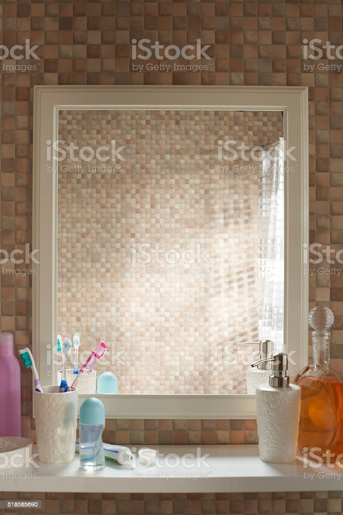empty bathroom mirror with no reflection stock photo