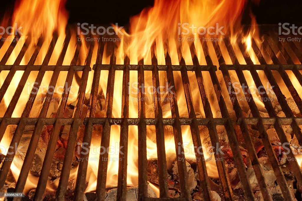 Empty BBQ Flaming Grill stock photo