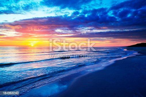 Empty Beach and Ocean during Sunset - SIMILAR XXXL IMAGES: