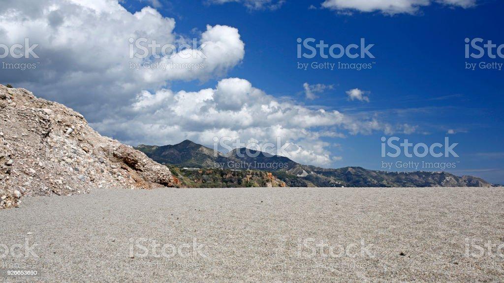 empty beach at sunny day stock photo