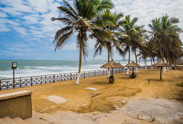 Empty beach cafe in Ghana stock photo