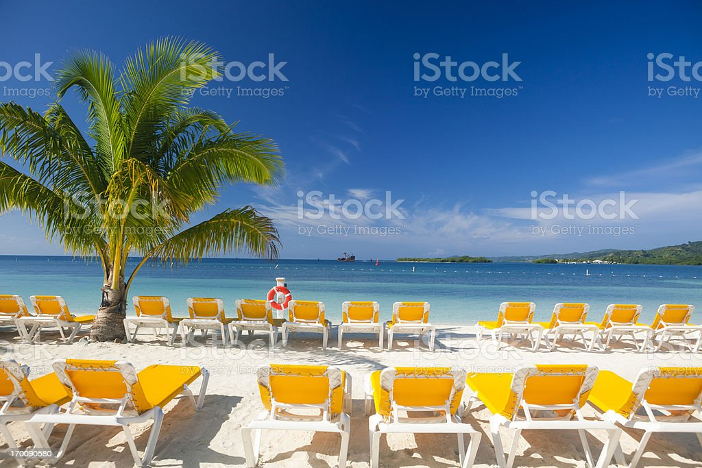 Empty Beach Chairs stock photo