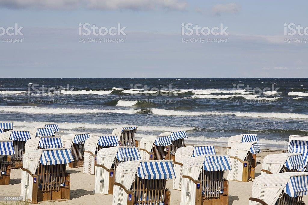 Empty beach chairs royalty-free stock photo