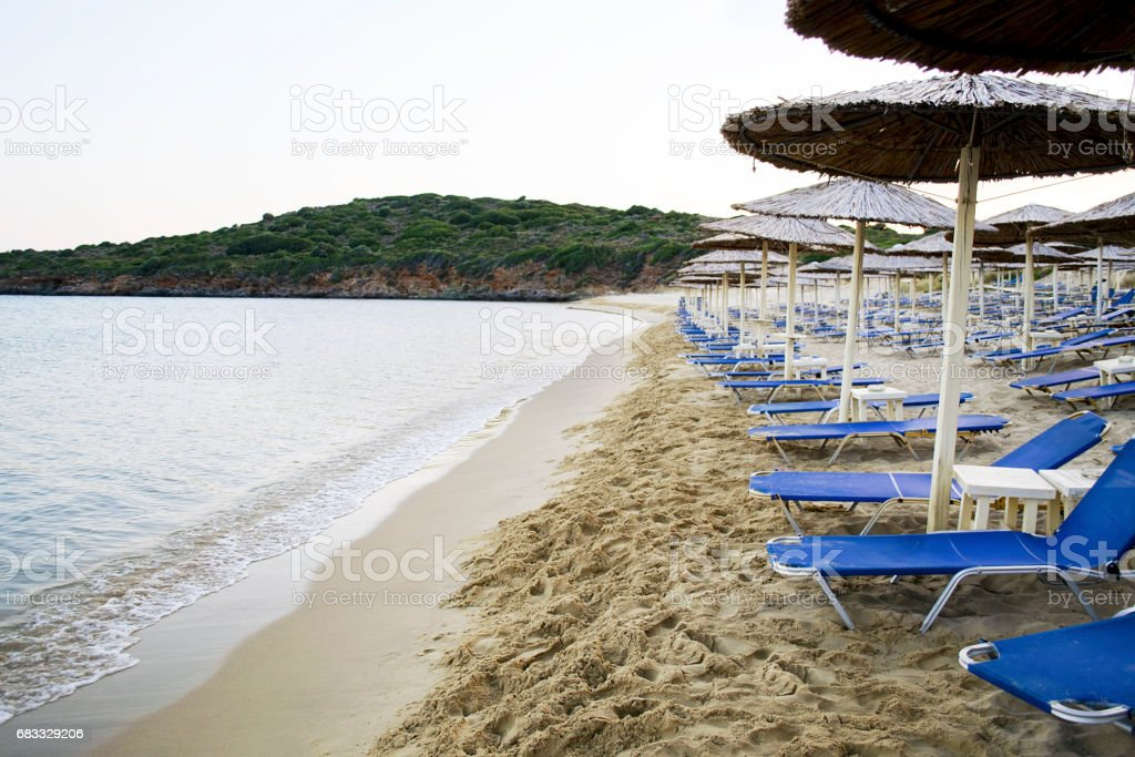 empty beach in Andros Greece stock photo