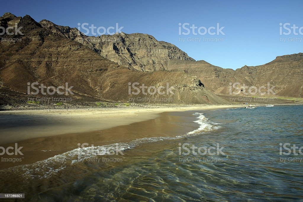 Empty beach near Aden stock photo