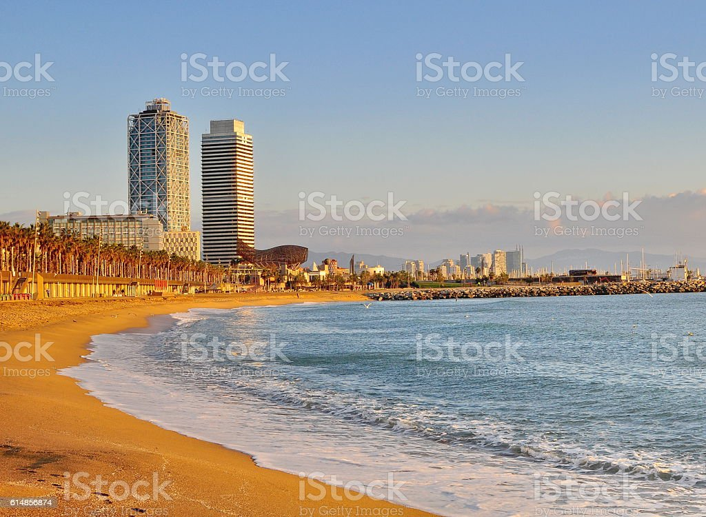 Empty beach of Barcelona stock photo