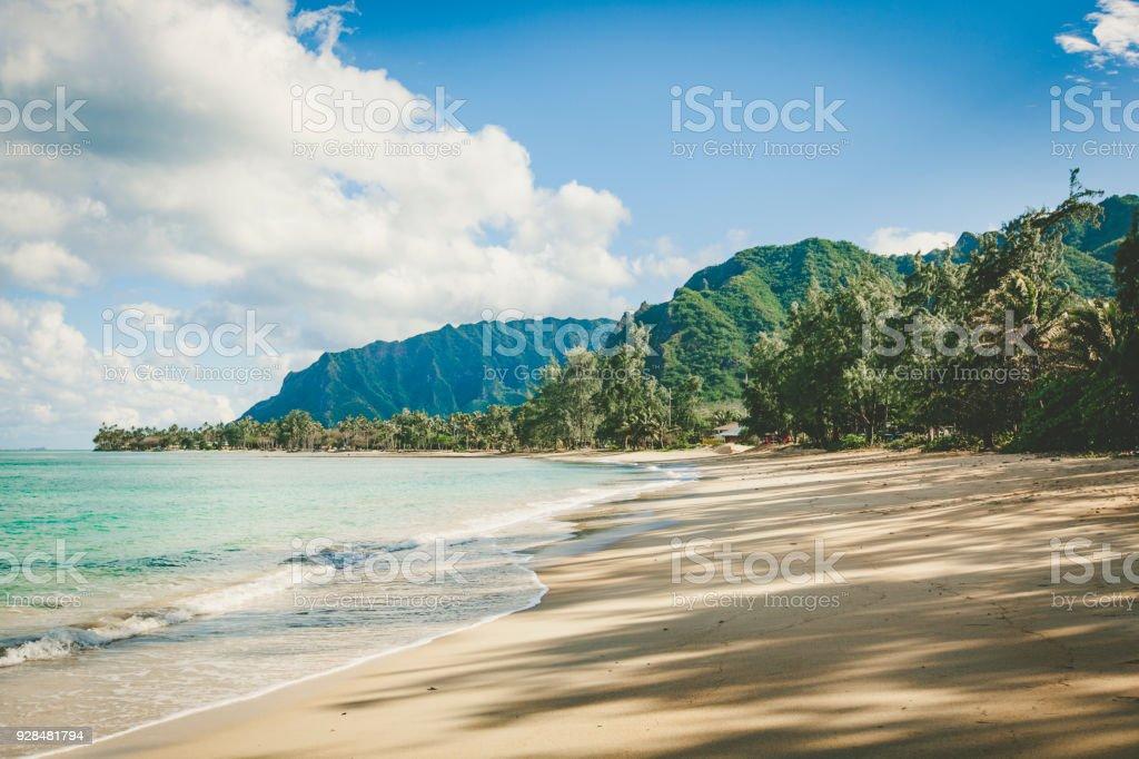 empty beach on oahu island, hawaii islands stock photo