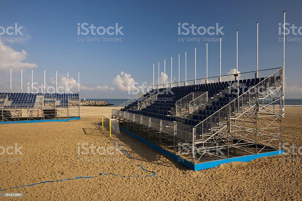 Empty Beach Soccer Stadium stock photo