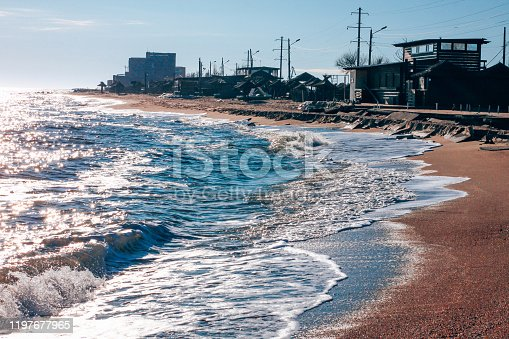 Empty beach with blue sea and sky background.South scenic landscape wallpaper, summer vacation season concept.Vivid blue water with blurred copy space.Social media banner,California resort advertising