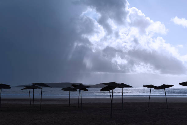 Empty beach with parasols against dark cloudy sky. stock photo