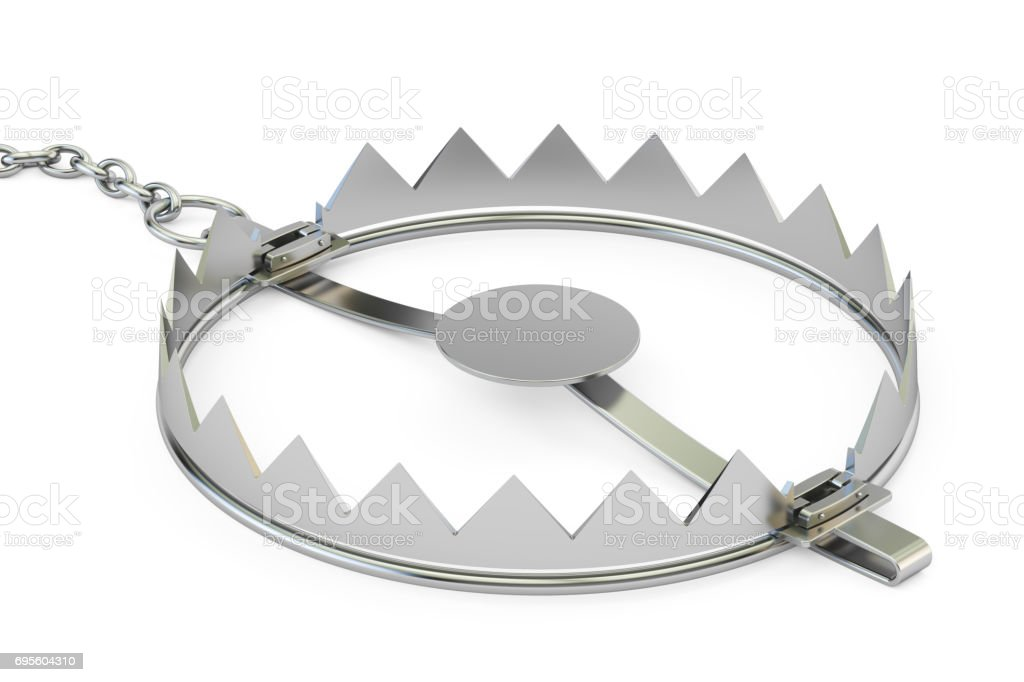 empty bear trap, 3D rendering isolated on white background stock photo