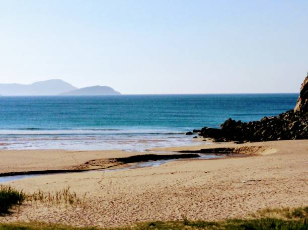 Empty beautiful Esteiro beach, Xove, Galicia, Spain. stock photo