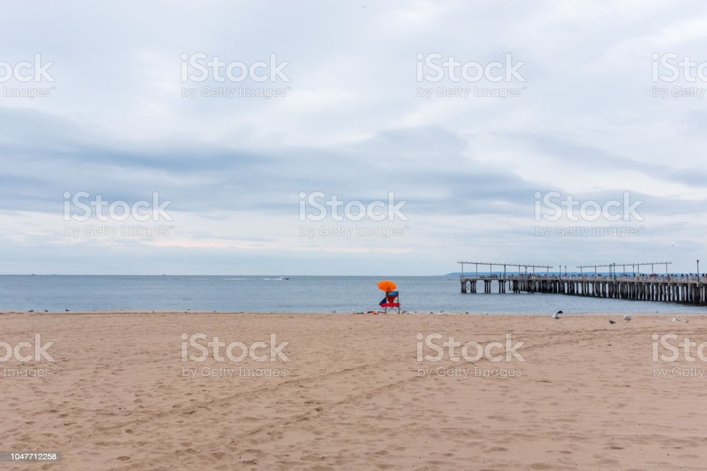 Empty bech of Coney Island stock photo