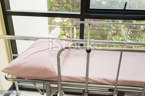 istock Empty bed in the hospital Emergency department . Deluxe private ward. equipped hospital room. 1162474616