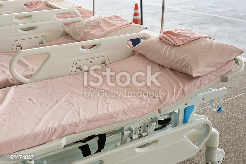 istock Empty bed in the hospital Emergency department . Deluxe private ward. equipped hospital room. 1162474637