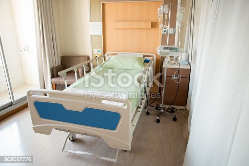 istock Empty bed in the modern hospital room. deluxe private ward. equipped hospital room. 908067276