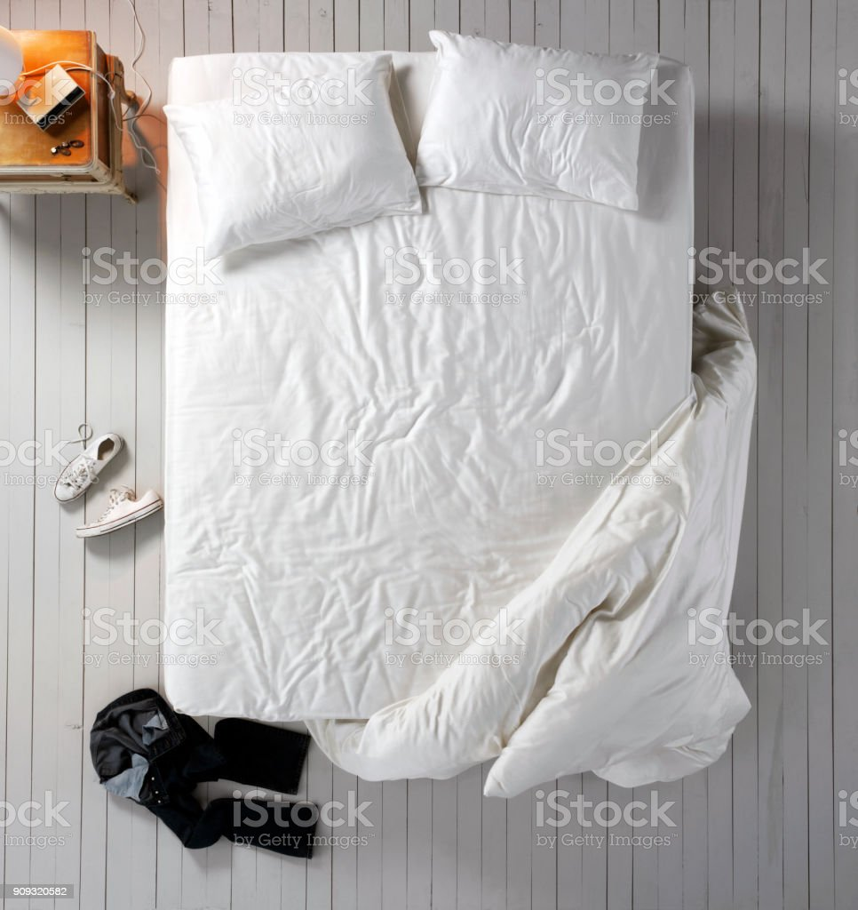 Empty bed stock photo