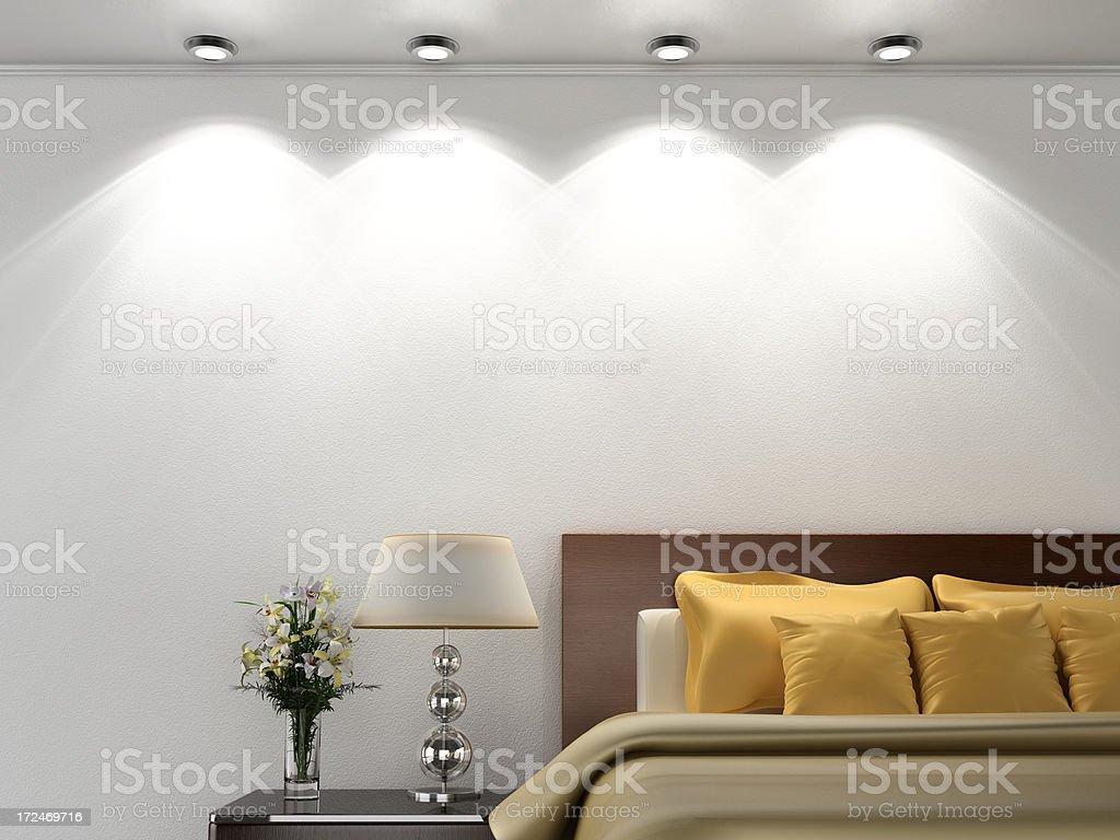 Empty bedroom wall stock photo