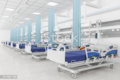 istock Empty beds in a hospital ward 1214357163