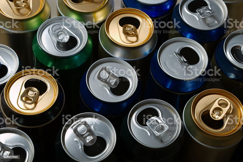 Empty beer cans stock photo