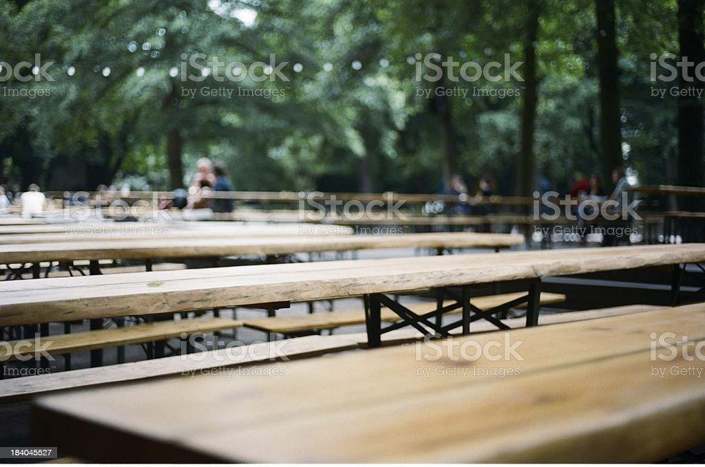 Empty Beer garden in Germany stock photo