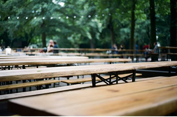 Empty Beer garden in Germany stock photo
