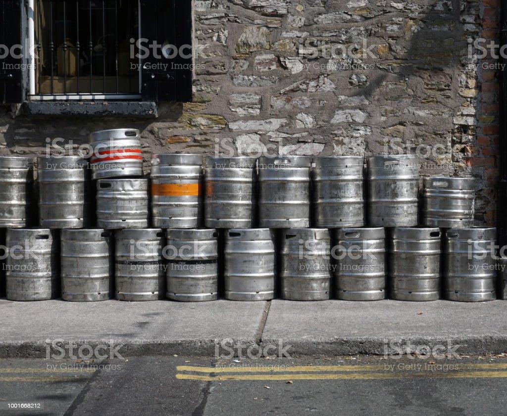 Empty beer kegs. stock photo