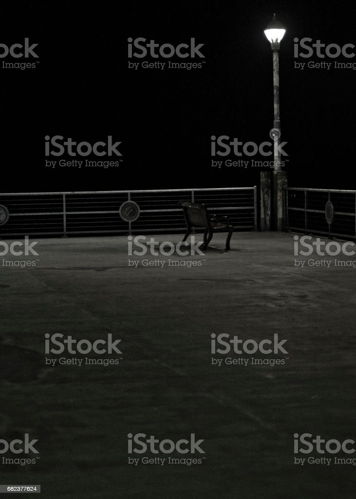 empty bench at night royaltyfri bildbanksbilder