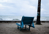 Empty Bench at the Beach