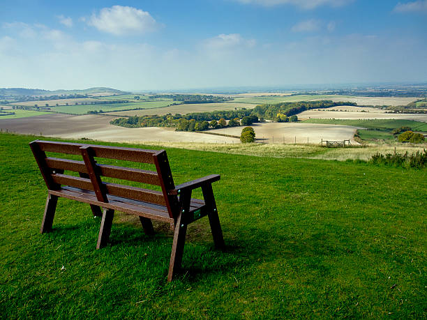 Empty bench overlooking Dunstable Downs stock photo