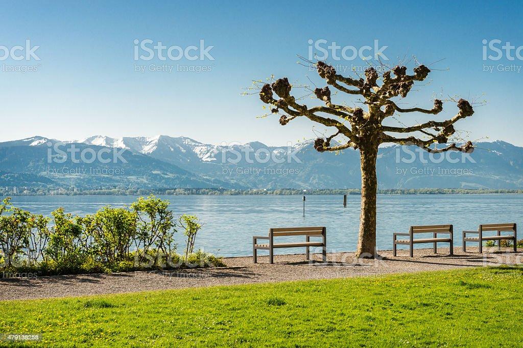 Leere Bänken am Lake Constance – Foto