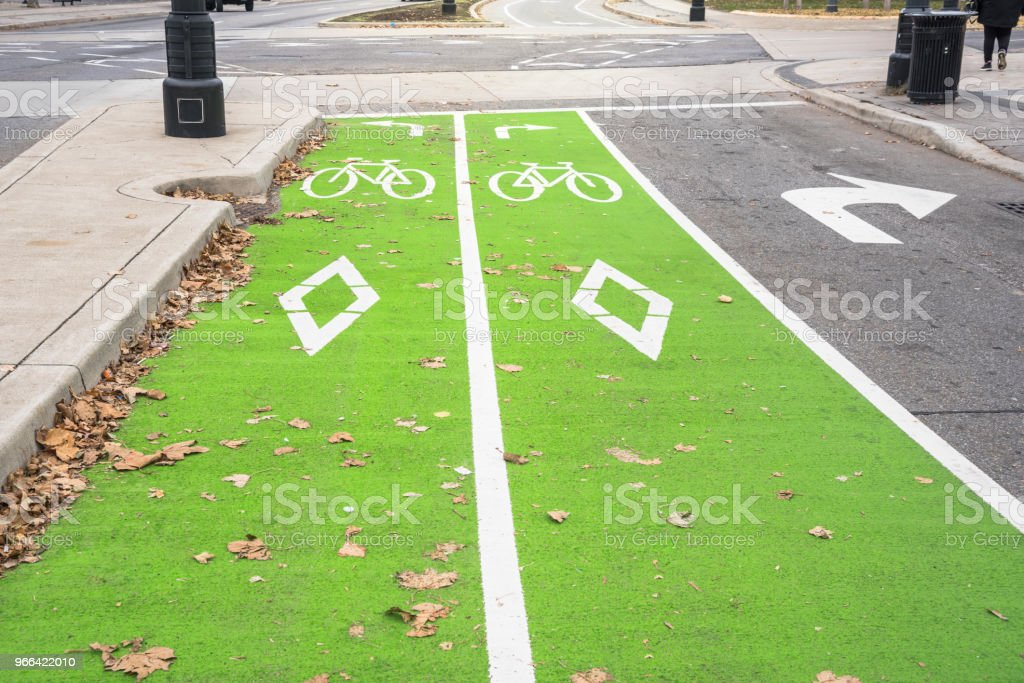 Empty Bicycle Lane in a City Centre stock photo